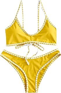 Women's Spaghetti Straps Contrast Trim Two Piece Crochet Bikini Set