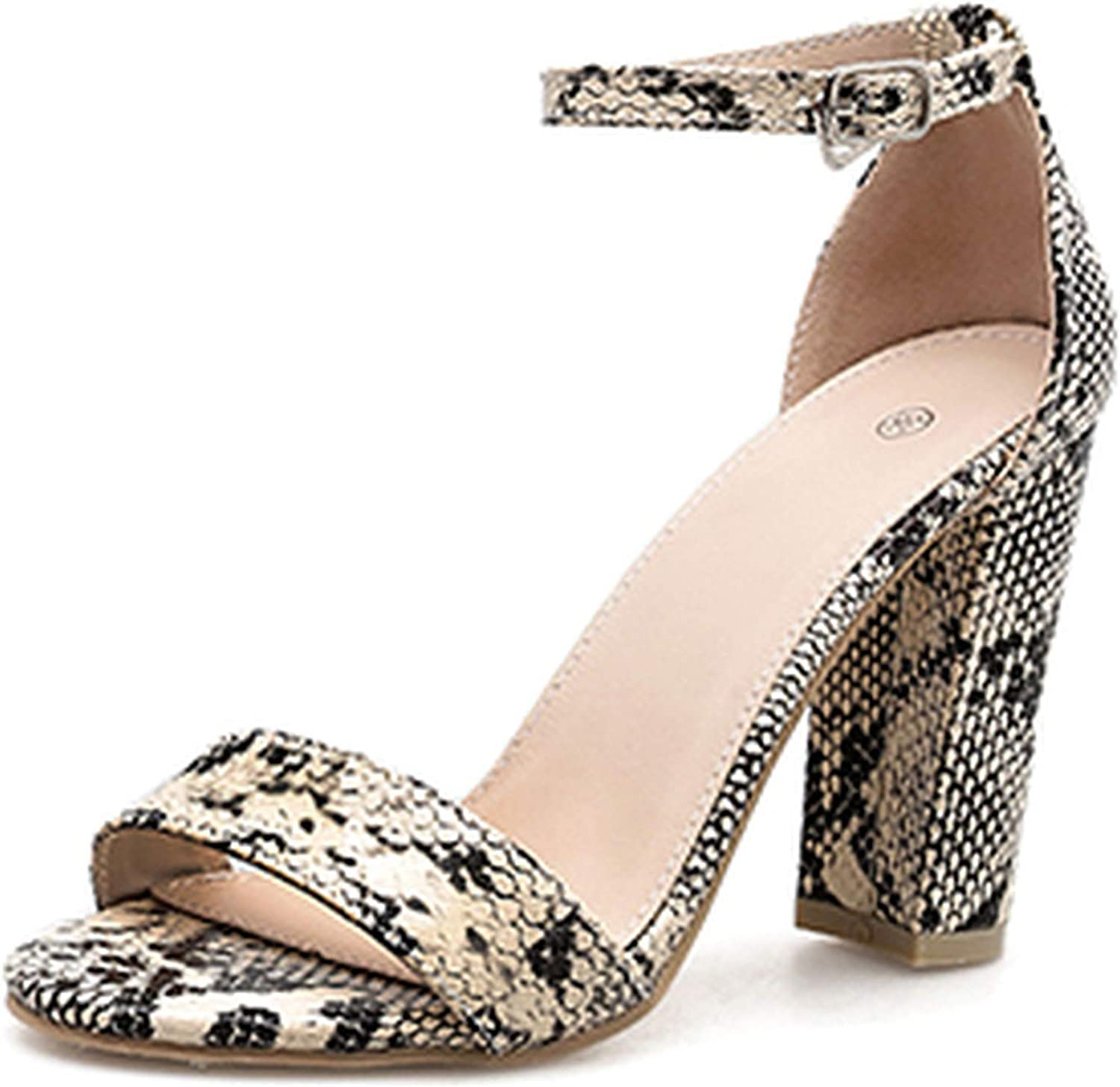 HuangKang 2019 Summer Fashion High Heels 10.5Cm Female Strappy Chunky Peep Nude Serpentine Woman shoes
