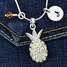 Pineapple Custom Pendant Yellow Sparkling Crystals Personalized Necklace Hand Stamped Initial Letter and Birthstone Charms Chain Gift Jewelry