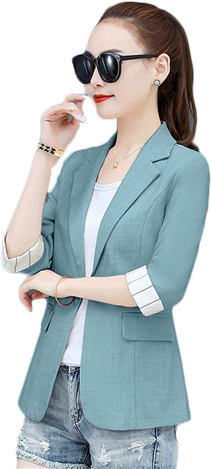 Andongnywell Womens Solid Color Blazer Casual Long F quality assurance store Open Sleeve