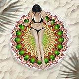 zzzddd Toalla Playa Redonda Mandala Artesanías Borlas Redonda Playa Toalla Rosa Impresión Playa Yoga Mat Shawl Bufanda Tapestry Mantel Mantel Manta De Picnic