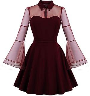 فستان سوينغ بطول الى الركبة باكمام واسعة شبكية للنساء من ويل ويتس لحفلات الكوكتيل