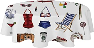 YOLIYANA Girls Modern Tablecloth,Nostalgic Female Beach Fashion Objects Solar Summer Travel Adventure Palms Concept for Table,39