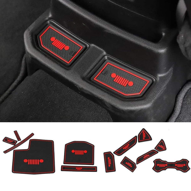 Ponis-Limos - 19pcs/Set for Jeep Wrangler JL Car Accessories 3D PVC/Latex Mat Non-slip Interior Cup Pad Door Groove Mat Car-styling