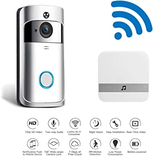 Explon Smart Wireless Video Doorbell - WiFi, 720p HD Home Security Door Bell Camera, Wi-Fi, PIR Motion Detect, Two-Way Talk, iOS and Android