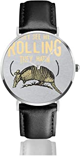 Unisex Business Casual See Me Rollin Armadillo Watches Quartz Leather Watch with Black Leather Band for Men Women Young Collection Gift