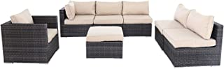 Thinkga Patio Furniture Set, 7 PCS Outdoor Conversation Set All Weather Mixed Color Vine PE Rattan Sectional Sofa Couch Table Chair with Ottoman, Beige Cushions