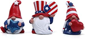 Hodao 3Pcs July 4th Patriotic Gnome Veterans Day Decoration Uncle Sam Tomte 4th of July Gift Stars and Stripes Nisse Handmade Scandinavian Ornaments Kitchen Tiered Tray Decorations