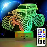 Pinkie Pie Kids 3D LED Lamp Monster Truck for Boys Night Light for Kids, Soft Light Lamps for Bedrooms with Remote Dimmable 14 Colors Room Decor for 3 4 5 9 10+ Year Old Kids Birthday Easter Xmas Gift