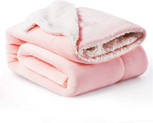 Bedsure Sherpa Fleece Baby Throw Blankets Unisex for Boys, Girls, Kids, Toddler, Infant, Newborn, 40x50 inches, Pink