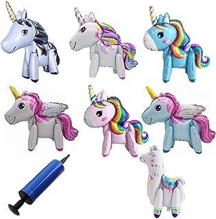 INTVN 7 Pezzi 3D Unicorno Palloncino , Regalo dei Bambini del Pallone della stagnola del Partito, Giocattoli Matrimonio, F...