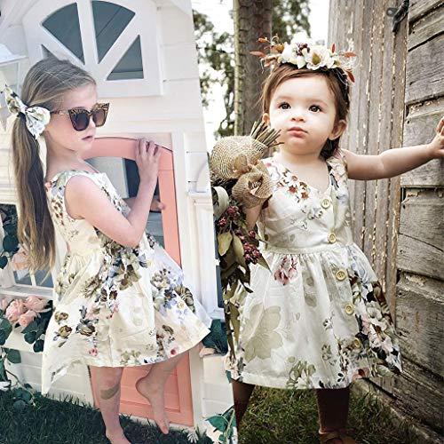 Janly Clearance Sale Vestido de niña para niñas de 0 a 10 años, ropa de verano de princesa, sin mangas, vestido floral, Multicolor, 2-3 años