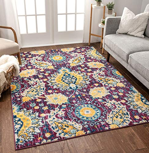 Well Woven Mila Oriental Medallion Vintage Purple & Yellow Multicolor Area Rug 5x7 (5'3' x 7'3')