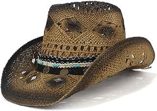 Fashion Hats, Caps,Elegant Hats, Natural Caps Retro Handmade Weave Straw Women Men Hollow Western Cowboy Hat Lady Dad Sombrero Hombre Cowgirl Jazz Sun Caps (Color : Coffee, Size : 56-58)