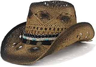TX GIRL Western Cowboy Hat 2019 Retro Handmade Weave Straw Women Men Hollow Western Cowboy Hat Lady Dad Sombrero Hombre Cowgirl Jazz Sun Caps Novelty Party Costumes (Color : Coffee, Size : 56-58)