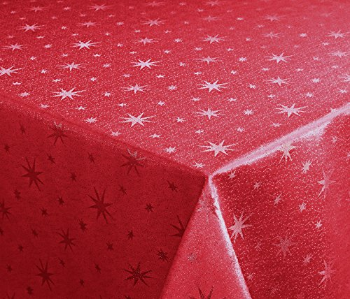 Lurex estrellas Mantel, Oro o plata brillante, Navidad Mantel Tamaño a Elegir), tejido, rojo y plateado,...