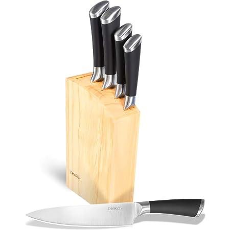 Denkich Couteau de Cuisine, Set Couteau Cuisine en Acier Inoxydable 6 Pièces (Couteau a Pain+Couteau Viande+ Couteau d'office+Couteau Cuisine+Couteau Chef+Bloc Couteau)