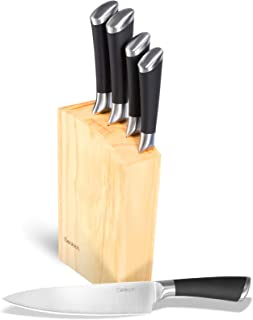 Denkich Couteau de Cuisine, Set Couteau Cuisine en Acier Inoxydable 6 Pièces (Couteau a Pain+Couteau Viande+ Couteau d'off...