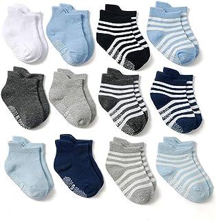 Z-Chen Calcetines Antideslizantes para Bebé Niños (Pack de 12 Pares), Niños, 0-1 Años