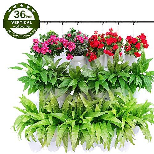 Worth Garden Hängende Blumentopf Wand für 36 Pflanzen mit Bewässerungs-Kit Vertikal Garten für Balkon Terrasse Haus Dekor Pflanzenwand Innen und Außen Weiß
