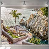 OTTOSUN Tapestry Wall Hanging,La Quebrada (The Famous Divers' Cliff) of Acapulco,Mexico,Tapestry Nature Landscape Art Wall Hanging,60Wx40L in