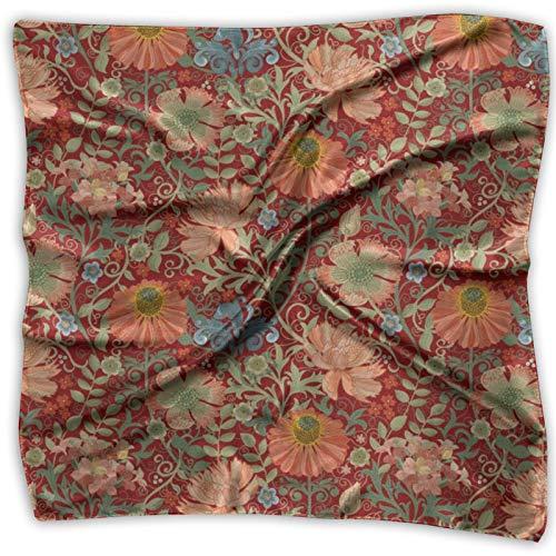 Le Jardin Art Nouveau Pañuelo Multifuncional Rojo Unisex Pañuelo de Seda Bolsillo Cuadrado para la Diadema, Envoltura, Cobertura Protectora 24 X 24 Pulgadas
