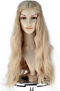 Girl Princess Wig Long Blonde Wavy Hair with Braid Cosplay Costume Wig
