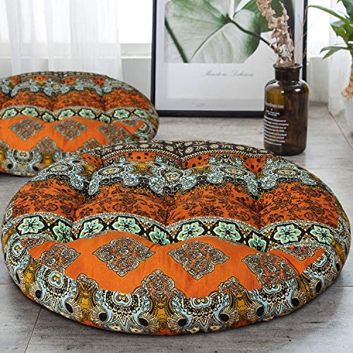 HIGOGOGO Round Bohemian Floor Cushion Cotton Linen Boho Design Seat Cushion for Adults Kids product image