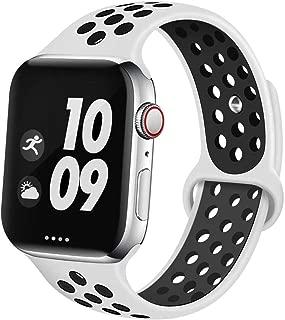 Apple Watch バンド 【WWWarai 】 最新の製造プロセス Compatible with Apple Watch 42MM/44MM アップルソフトシリコンバンド Apple Watchシリーズ 1/2/3/4/5 に対応 (42/44mm ホワイト+ブラック)