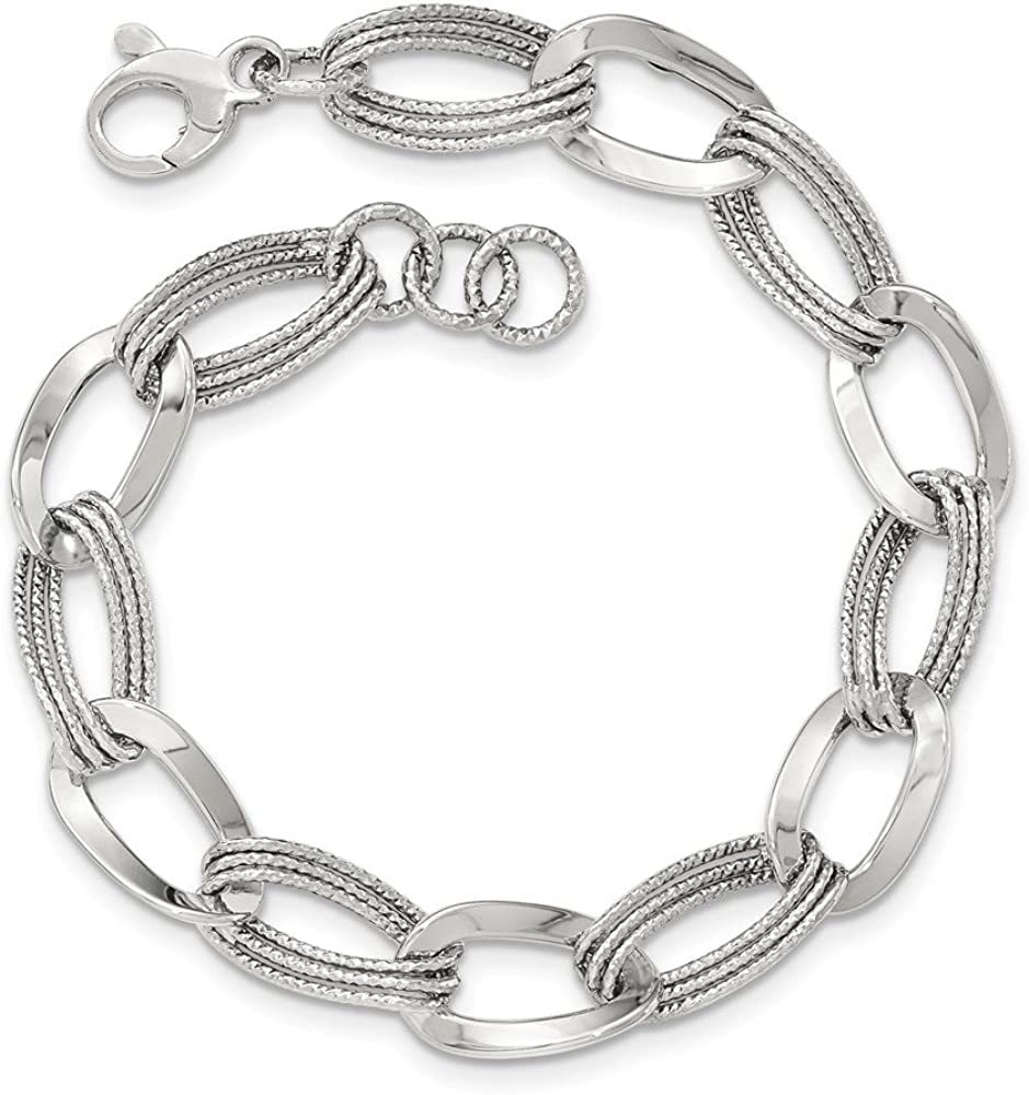 Jewels By Lux 14k Max 88% OFF White Link Polished Department store Fancy Gold Bracelet