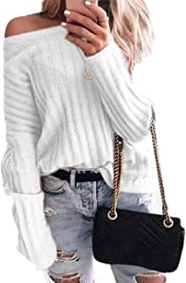 Womens Long Sleeve Casual Ribbed Thicken Pullover Knitted Loose Sweater Tops