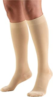 Truform 15-20 mmHg Compression Stockings for Men and Women, Knee High Length, Closed Toe, Beige, Large