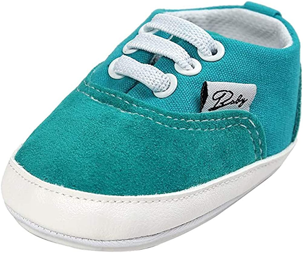 Sabatutu Infant Baby Boys Girls Canvas Shoes Soft Sole Slip On Newborn Crib Moccasins Casual Toddler Sneaker Boy's Flat Lazy Loafers First Walkers Skate Shoes (A-Apple Green