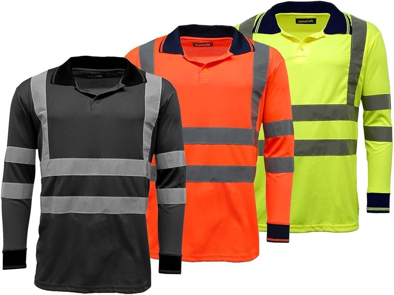 Men's Polo Shirts Hi Vis High Viz Visibility Long Sleeve Safety Work-wear Shirt