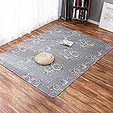 LIVEINU Baumwolle Tatami Teppich mit Anti-Rutsch Unterstützung Faltbarer Abwaschbarer Kinderteppich Spielteppich Babyteppich Fußboden Krabbeldecke 150x210cm Blumen Grau