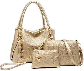 Leather Bag For Women,Gold - Handbags Sets