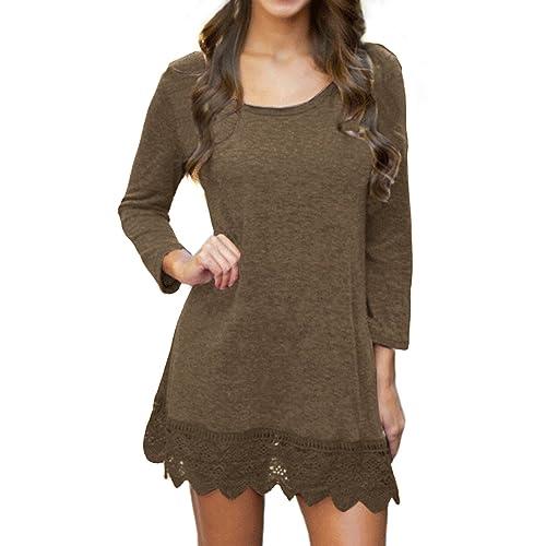c7dc26d45ece POZON Women s Long   Short Sleeve A-line Lace Stitching Trim Casual Dress
