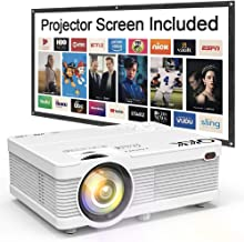 "QKK Mini Projector 4500Lumens Portable LCD Projector [100"" Projector Screen Included] Full HD 1080P Supported, Compatible with Smartphone, TV Stick, Games, HDMI, AV, Outdoor Projector for Home Theater"