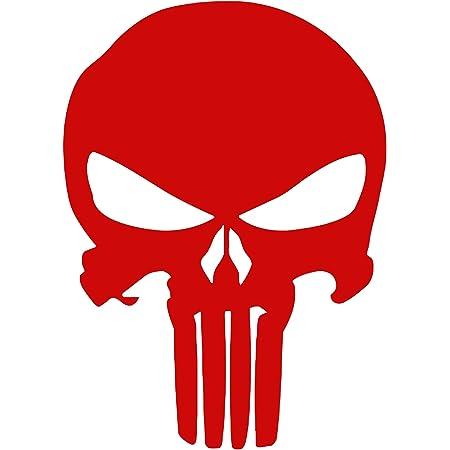 Punisher Aufkleber Auto Sticker Autosticker Autoaufkleber Decal War Zone Totenkopf Skull 10 X 14 Cm Rot Küche Haushalt