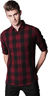 Dennis Lingo Men's Checkered Maroon Slim Fit Casual Shirt