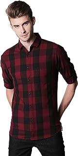 Dennis Lingo Men's Checkered Maroon Slim Fit Casual Shirt