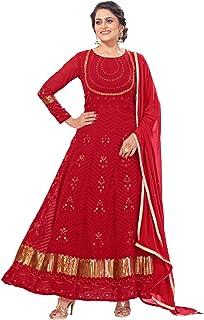 فستان حفلات للنساء المسلمين الهندي/باكستاني أحمر اللون رداء شبكة أناركالي فروك البدلة العرقية التقليدي 6071