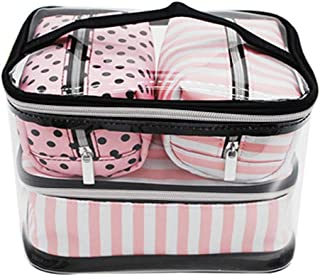 4 in 1 Travel Makeup Case, Professional Cosmetic Bag Portable Makeup Bag Organizer Large Makeup Boxes With 1 x Middle Bag, 2 x Small Bag for Women Girls (Pink)