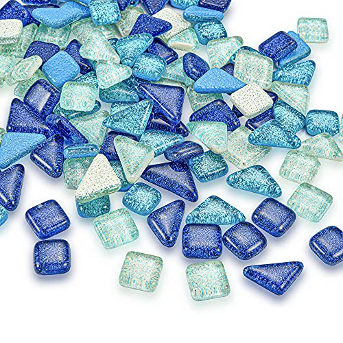 Yoption Mosaic Tiles Bulk, Mixed Color Assorted Square and Triangle Glitter Crystal Glass Mosaic Tiles for Home Decoration or DIY Crafts 200g