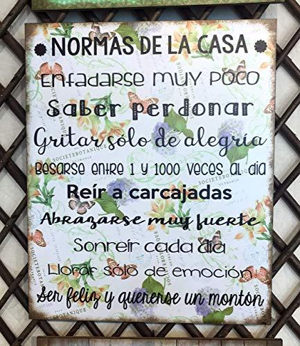 """Cuadro de madera con frases y mensajes positivos e inspiradores""""Normas de la casa"""""""