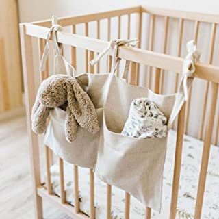 Seasons Shop Hanging Crib Organizer Bedside Baby Hanging Storage Bag Large Capacity With Two Pockets And Adjustable Straps Perfect Nursery Decoration marvelously