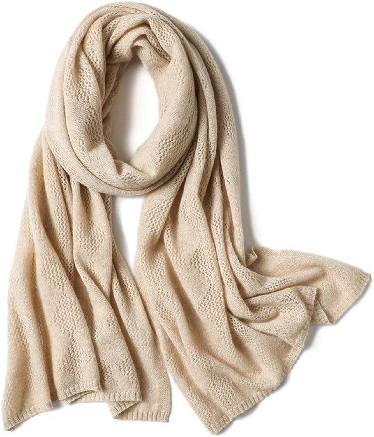 Women's Scarf Knit Thicken Solid color Cutout Warm Cape Wrap Body Scarf (color   Camel, Size   One Size)