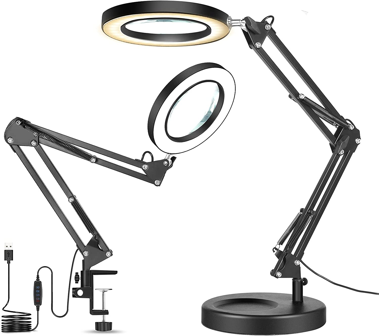 Omaha Seasonal Wrap Introduction Mall Magnifying Desk Lamp with Clamp 2-in-1 Daylight Dimmable Bright