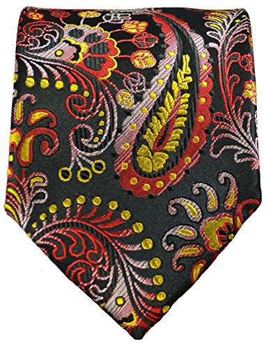 Cravate homme noir rouge paisley ensemble de cravate 3 Pièces ( longueur 165cm )
