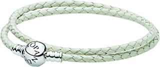 Pandora 590745CIW-D2 White Leather with Silver Double Layer Bracelet for Women - 38 cm,Multi Color